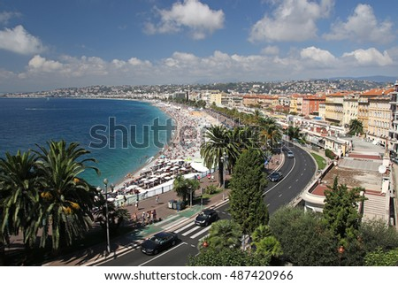 NICE, FRANCE - AUGUST 2016: View of NICE beach in France - Cote D'azur, French Riviera, August 21, 2016