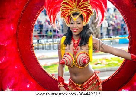 Nice, France - February 20, 2016: Participants in the carnival parade in Nice. Carnaval de Nice - Roi de Media (King of Media) - stock photo
