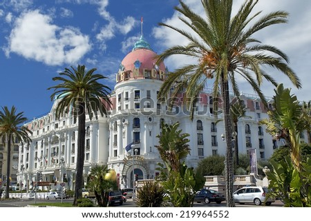 "NICE, FRANCE, French Riviera - March 23: Luxury hotel "" Hotel Negresco "" located on the Promenade des Anglais on March 23, 2014, Nice, France. The hotel has 96 rooms and 21 suites - stock photo"