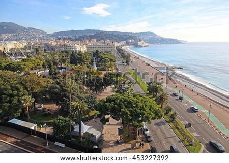 NICE, FRANCE - JANUARY 20: Aerial Cityscape of Nice on JANUARY 20, 2012. Aerial photo of Promenade at French Riviera in Nice, France. - stock photo
