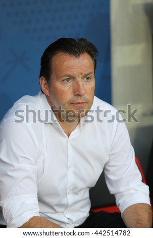NICE, FRANCE - JUNE 22, 2016: Head Coach of Belgium National football team Marc Wilmots looks on during UEFA EURO 2016 game against Sweden at Allianz Riviera Stade de Nice, Nice, France