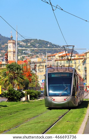 NICE, FRANCE - JUNE 22, 2016: Modern tram in the downtown Nice