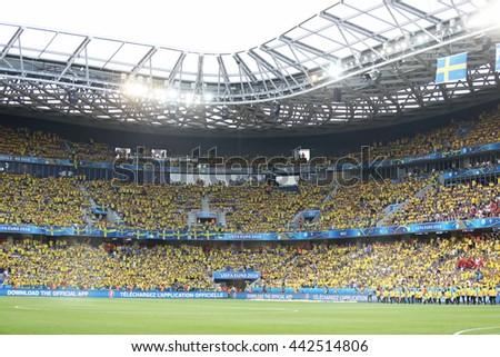 NICE, FRANCE - JUNE 22, 2016: Tribunes of Allianz Riviera Stade de Nice during UEFA EURO 2016 game Sweden v Belgium - stock photo