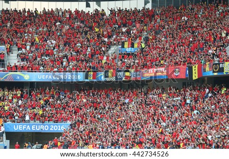 NICE, FRANCE - JUNE 22, 2016: Tribunes of Allianz Riviera Stade de Nice during UEFA EURO 2016 game Sweden v Belgium