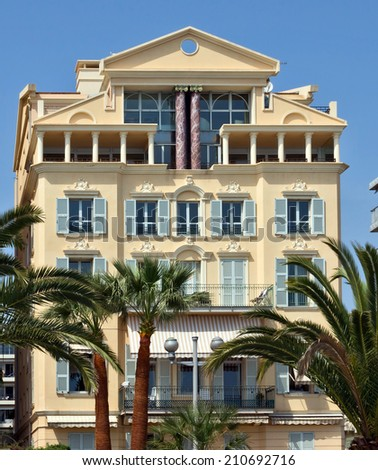 NICE, FRANCE - MAY 2: Architecture along Promenade des Anglais on May 2, 2013 in Nice, France. Promenade des Anglais is a symbol of the Cote d'Azur and was built in 1830.