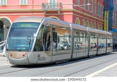 NICE, FRANCE - MAY 4: Modern tram in the centre of city on May 4, 2013. Tram is the main mode of transport in the city. The tram line connects the western and eastern parts of the city.