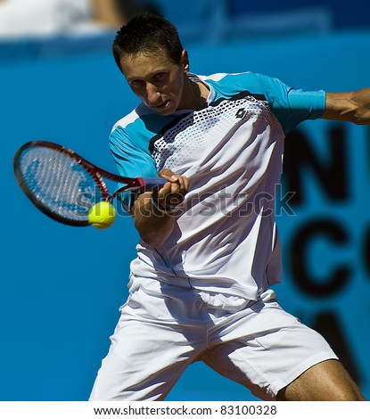NICE, FRANCE - MAY 17: Ukrainian Sergiy Stakhovsky plays a forehand shot in an early round match at the 2011 ATP Nice Open Cote d'Azur tennis tournament on May 17, 2011 in Nice, France