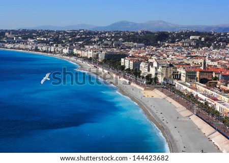 NICE, FRANCE - Nov 10: aerial view of Nice, France. View of beach and famous Promenade des Anglais on Nov 10, 2007 in Nice, France. Nice is a popular tourist spot in South France. - stock photo