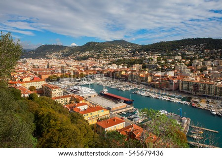 Nice, France - November 6, 2016: Aerial View from the Castle Hill on Port of Nice and Luxury Yachts, French Riviera, France.