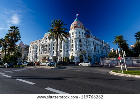 NICE, FRANCE - NOVEMBER 6: Luxury hotel Negresco 28 November, 2012 in Nice. Hotel Negresco is the famous luxury hotel on the Promenade des Anglais in Nice, a symbol of the Cote d'Azur - stock photo