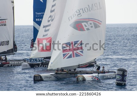 NICE, FRANCE - OCT. 5: second  and last day of cruises at the extreme 40 sailing competition, that has seen the victory of swiss team Alinghi on the 5th of october 2014 in Nice, France.