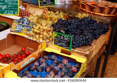 Nice, France - October 22, 2011, fruits and vegetables at a farmers market  - stock photo