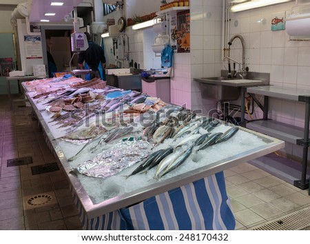 NICE, FRANCE - OCTOBER 30, 2014: Seafood Fish store - stock photo
