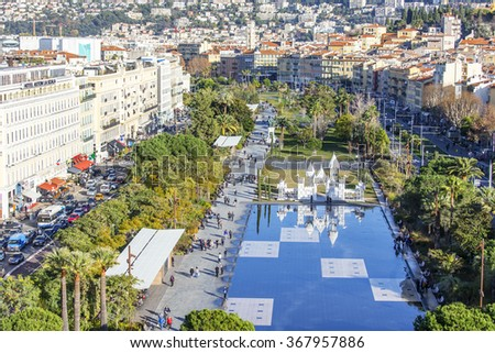 NICE, FRANCE, on JANUARY 7, 2016. A view of Promenade du Paillon park from a high point
