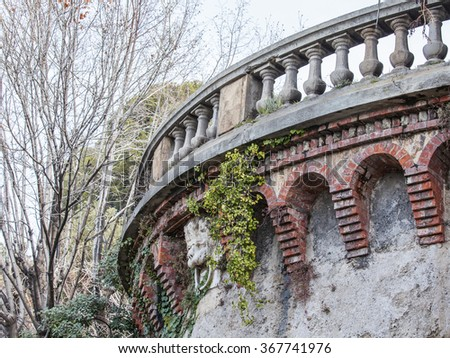 NICE, FRANCE - on JANUARY 7, 2016. Park on Shatto's hill, architectural details