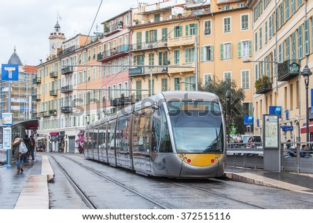 NICE, FRANCE - on JANUARY 11, 2016. The high-speed tram goes on the city street