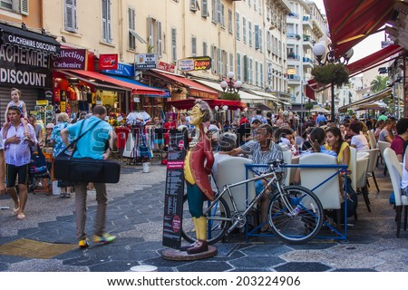 Nice, France, on July 3, 2011. Typical urban view in rainy weather