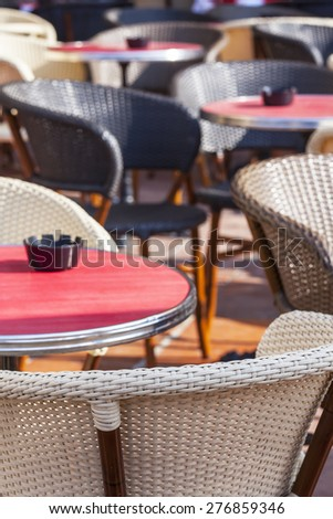 Nice, France, on March 10, 2015. Little tables of summer cafe in the old city