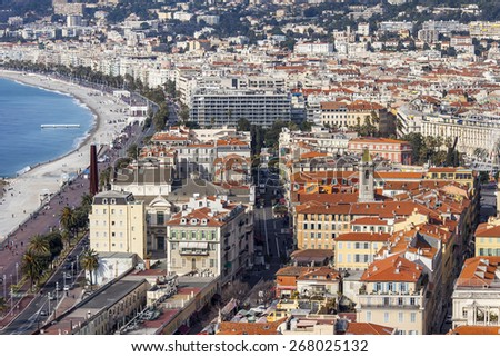 Nice, France, on March 13, 2015. The top view on the city from Shatto's hill