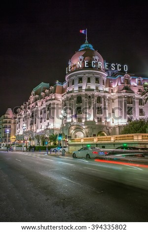 NICE, FRANCE - SEPTEMBER 06, 2014: The famous Le Negresco Hotel. This historic luxury hotel, located in the Promenade des Anglais, is a landmark in the city. - stock photo