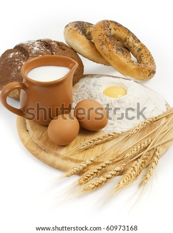 nice fresh country breakfast isolated on white background - stock photo