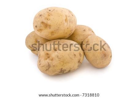 Nice fresh potatoes  isolated white background - stock photo