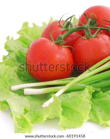 nice fresh red tomatoes, green lettuce and leek isolated on white - stock photo