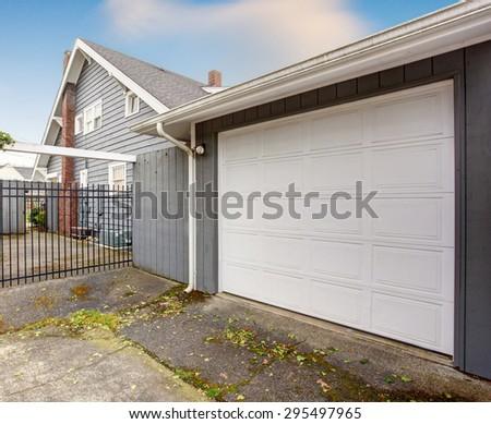 Nice Garage White Door Black Gate Stock Photo Royalty Free
