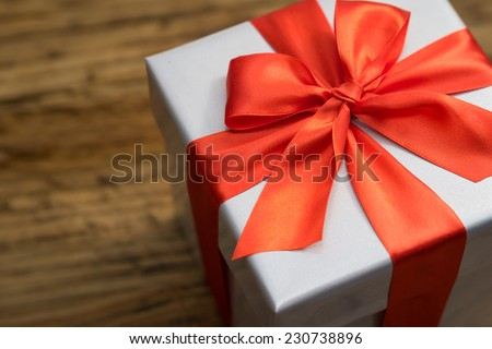 nice gift box on wood table