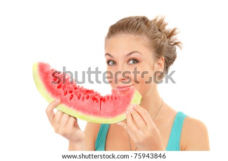 nice girl eat juicy watermelon. over white