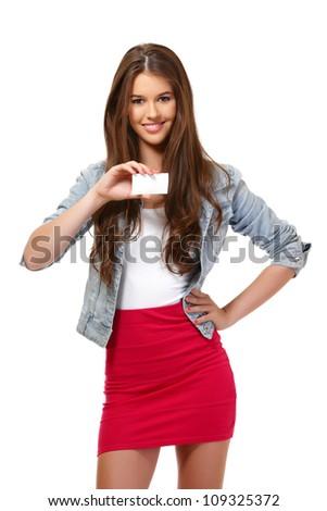 nice girl holding a blank businesscard - stock photo