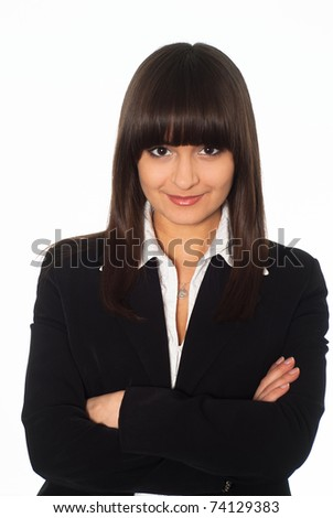nice girl in a business suit standing on white background - stock photo
