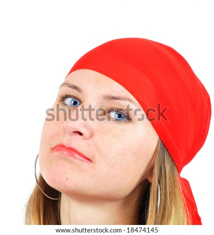 nice girl in red kerchief isolated on white - stock photo