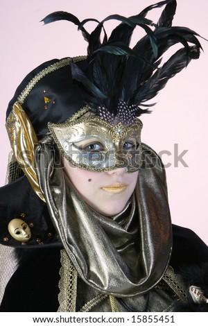 Nice girl in venetian costume No.2 - stock photo