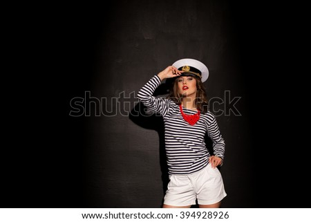 nice girl model in the marine form - stock photo