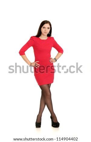 nice girl posing on a white background - stock photo