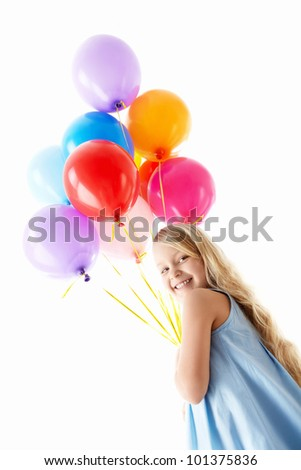 Nice girl with balloons on a white background - stock photo