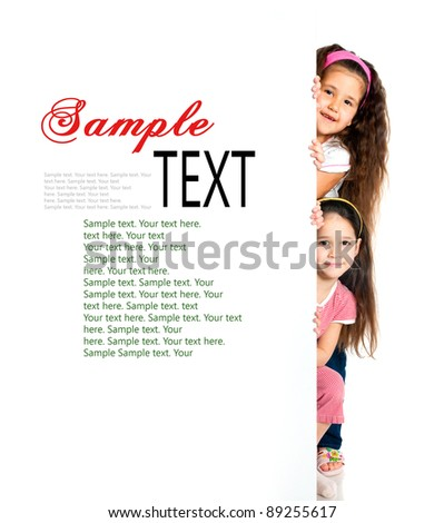 nice girls beside a white blank with sample text - stock photo