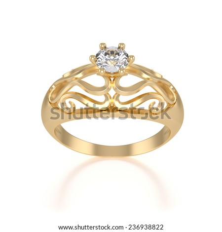 nice gold ring with diamond isolated - stock photo