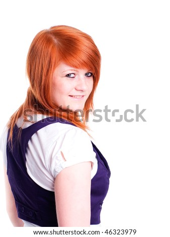 nice gorgeous girl in red hair isolated against white background