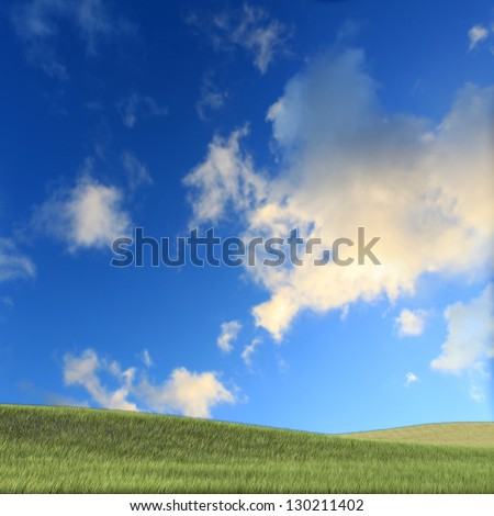 Nice grass with clear sky for adv or others purpose use - stock photo