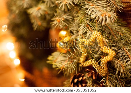 nice hand made christmas wreath closeup background - stock photo