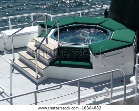 nice hot tub on a yacht - stock photo