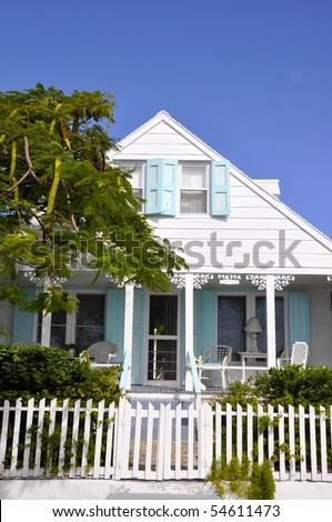 nice house for vacation, seen on the Bahamas - stock photo