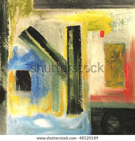Nice Image of a Abstract oil painting On Canvas - stock photo