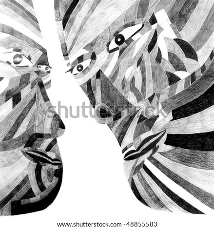 Nice Image Of a figurative Drawing in Pencil - stock photo
