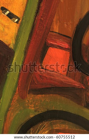 Nice Image of a large scale Original Painting on canvas - stock photo