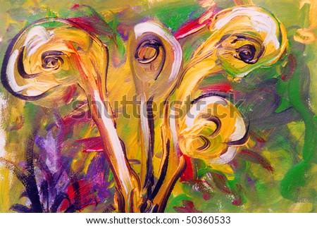Nice Interesting Floral Abstract painting on paper - stock photo