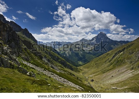 Nice landscape in the french pyrenees - stock photo