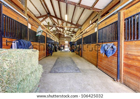 Nice large horse stable shed interior.